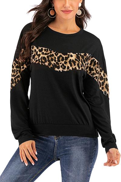 Fashion Leopard Round Neck Top