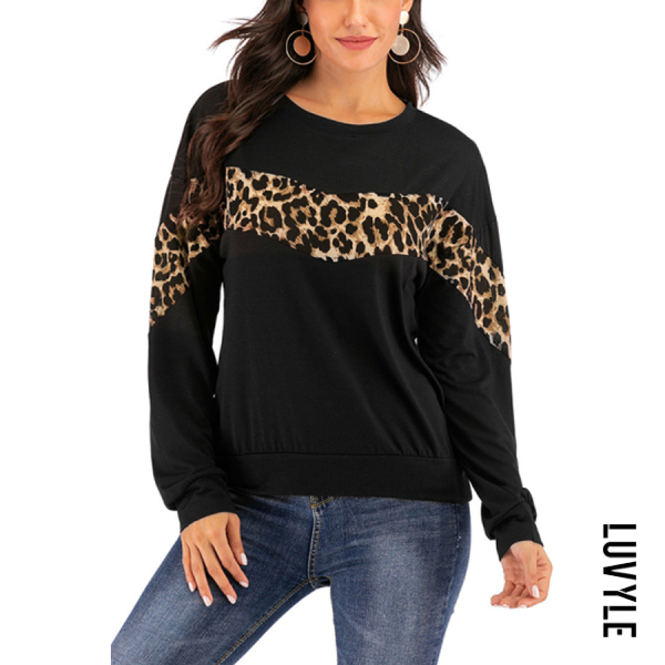 Fashion Leopard Round Neck Top