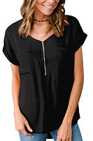 V Neck  Zipper  Plain  Blouses