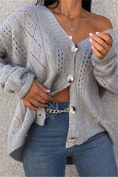 Hollow Out Single Breasted Sweater