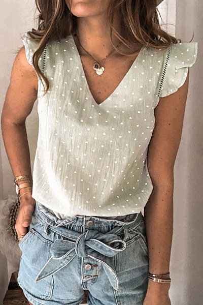 Fashion V-neck Print T-shirt