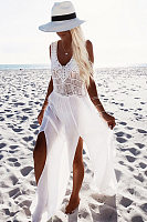 V Neck Slit Crochet Maxi Dresses