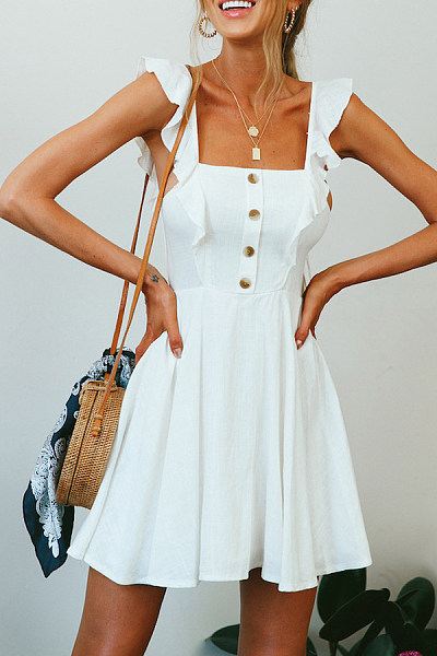 Spaghetti Strap  Loose Fitting  Plain  Sleeveless Skater Dresses