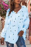 Casual Star Print Long Sleeve Shirt