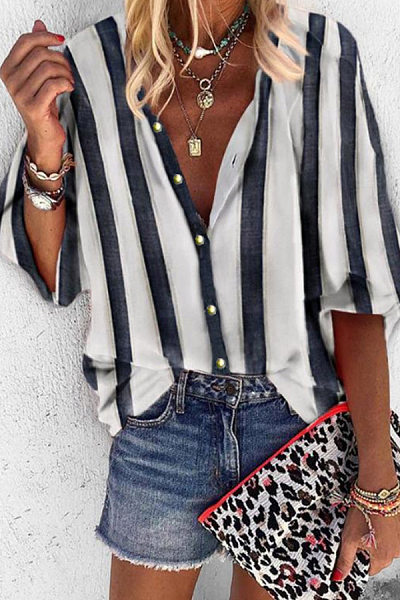Casual Striped Blouses