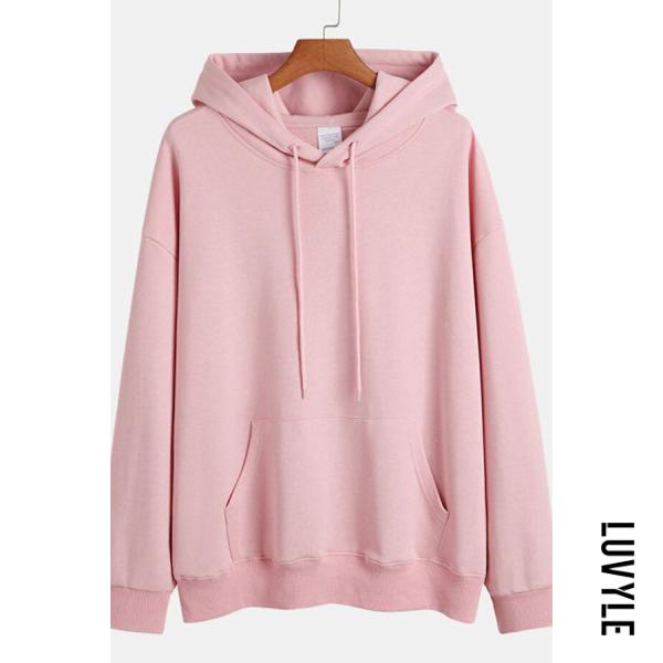 Pink Knit Solid Color Loose Drawstring Hoodie Pink Knit Solid Color Loose Drawstring Hoodie