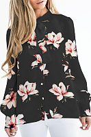 High Neck  Bow  Floral Printed  Blouses