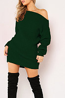 One Shoulder  Plain  Long Sleeve Bodycon Dresses