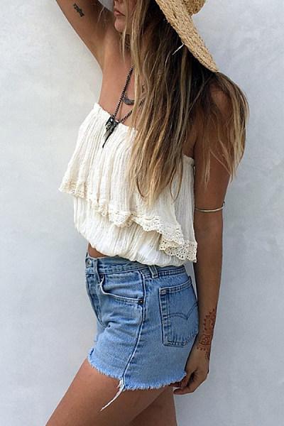 Collarless  Decorative Lace  Plain  Vests