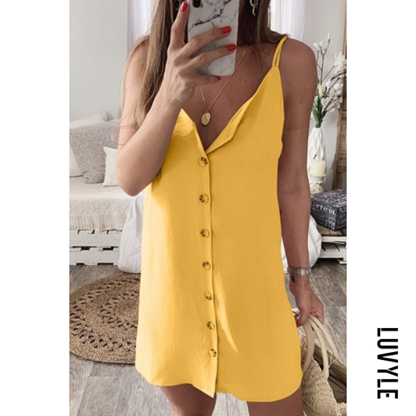 Yellow Spaghetti Strap Single Breasted Plain Sleeveless Casual Dresses Yellow Spaghetti Strap Single Breasted Plain Sleeveless Casual Dresses