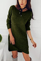 Round Neck  Asymmetric Hem  Plain Casual Dresses