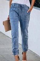 Women  Drawstring Slim Pencil Jeans