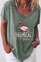 Casual Flamingo Print V-neck Short Sleeve T-shirt
