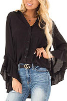 Irregular Long Sleeve Ruffle Sleeve Shirt