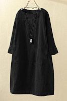 Round Neck Three Quarter Sleeve Plain Dress
