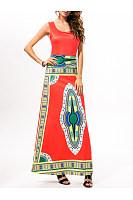 Round Neck  Print  Sleeveless Maxi Dresses