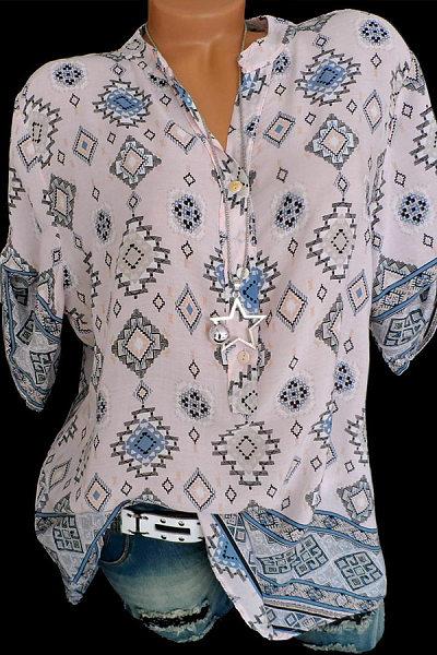 Band Collar  Loose Fitting  Geometric Printed Blouse