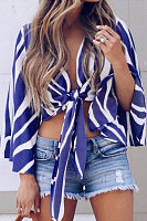 Deep V Neck  Striped  Bell Sleeve  Blouses