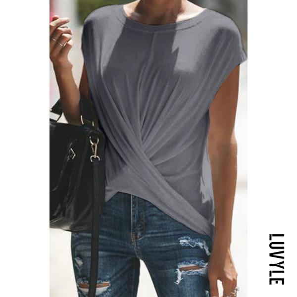 Gray Casual Pure Clor T-Shirt Gray Casual Pure Clor T-Shirt