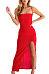 Spaghetti Strap  Backless High Slit  Plain  Sleeveless Maxi Dresses