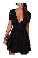 Deep V Neck  Decorative Lace Ruffle Trim See Through  Bust Darts Crochet  Lace  Short Sleeve Skater Dresses