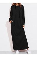 Hooded  Plain  Long Sleeve Maxi Dresses