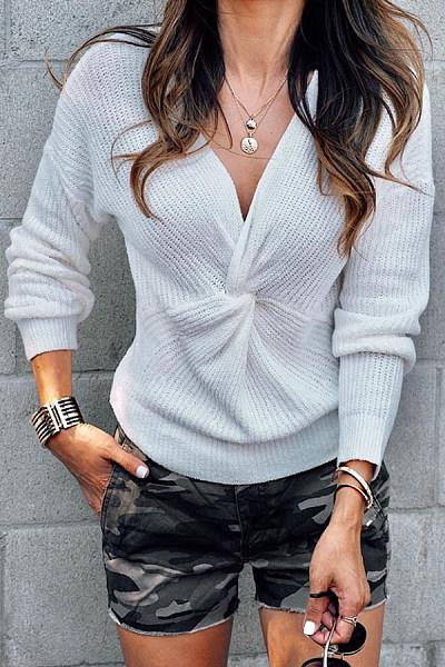 V Neck Long Sleeve Knot Sweater