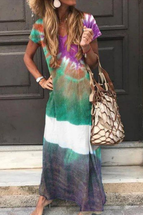 Beach Vibes, Lovely Colouring Summer Casual Loose Maxi Dress