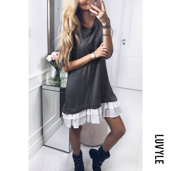 Gray Round Neck Flounce Patchwork Casual Dresses Gray Round Neck Flounce Patchwork Casual Dresses