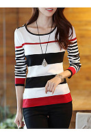 Striped Color Block Long Sleeve T-Shirt
