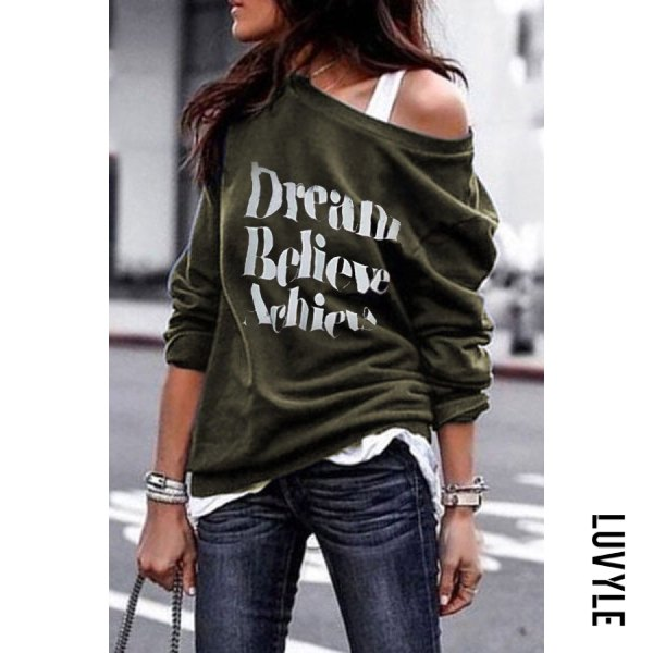 Army Green Round Shoulder Letters T-Shirts(Camisole is excluded) Army Green Round Shoulder Letters T-Shirts(Camisole is excluded)
