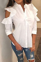 Fold Over Collar  Single Breasted  Tiered Blouses