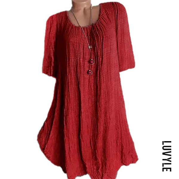 Red Casual Round Neck Pure Colour Half Sleeve Loose Dress Red Casual Round Neck Pure Colour Half Sleeve Loose Dress