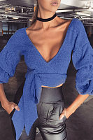 Surplice  Batwing  Exposed Navel  Plain  Lantern Sleeve Blouses
