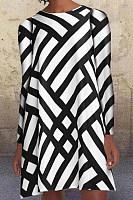 Geometric Striped Long Sleeve A-line Dress