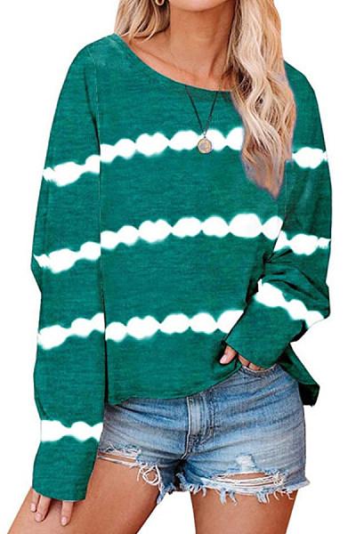 Tie-dye Striped Round Neck T-shirt