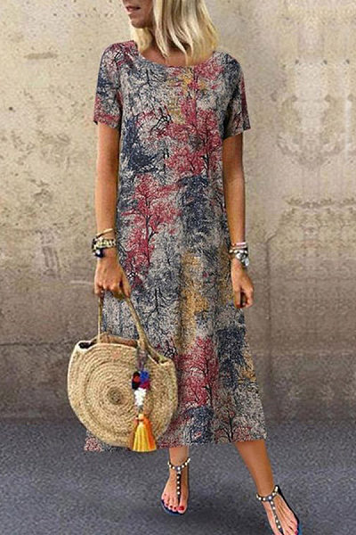 Round Neck Short Sleeve Forest Printed Maxi Dress