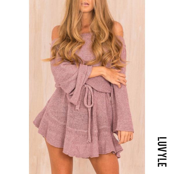Purple Open Shoulder Plain Casual Dresses Purple Open Shoulder Plain Casual Dresses