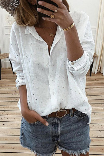 A Lapel Printed Casual Blouses