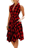Deep V Neck  Asymmetric Hem Single Breasted  Gingham Casual Dresses