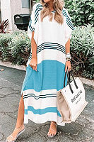 V Neck Batwing Sleeve Striped Casual Dress