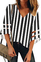 V Neck  Plaid  Elegant  Striped  Bell Sleeve  Half Sleeve  Blouses