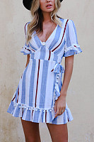 Deep V Neck  Bow  Cascading Ruffles  Striped  Bell Sleeve  Short Sleeve Casual Dresses