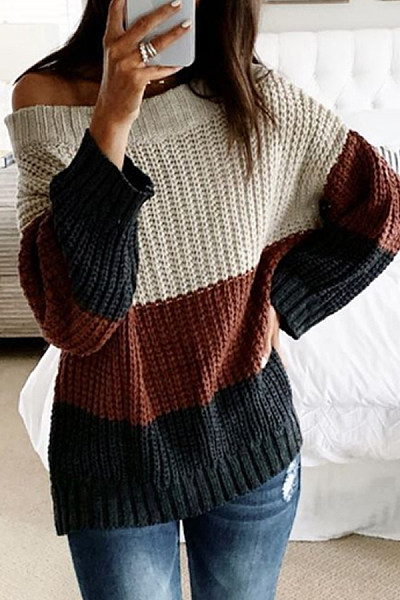 Shoulder Collar Knit Colouring Sweater