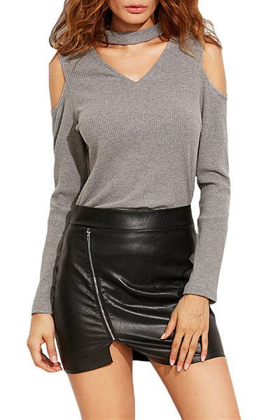 Halter V Neck  Plain Long Sleeve T-Shirts