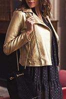 Stylish Fold Over Collar Long Sleeve Zipper Blazer