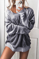 V  Neck  Plain  Basic  Sweatshirts