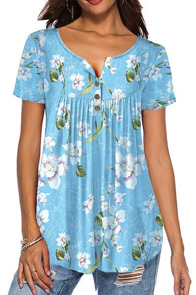 Round Neck Print Buttons Short Sleeve T-shirt
