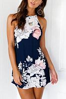 Halter  Backless  Print  Sleeveless Bodycon Dresses