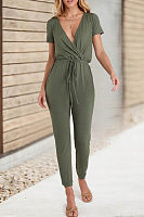 Fashion Casual Deep V Cross   Straps Jumpsuit